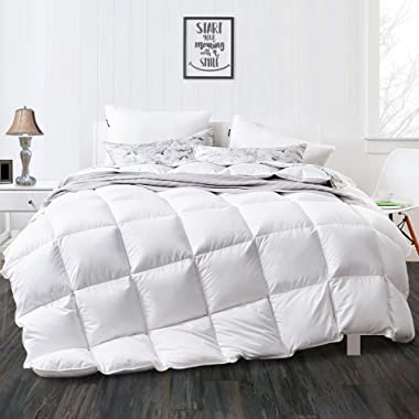 APSMILE Luxurious Full/Queen Goose Down Comforter Lightweight Duvet Insert-1600TC Ultra-Soft Egyptian Cotton, 750+ Fill Power, Thin Light Warmth for Summer Hot Climate/Sleeper, Solid White