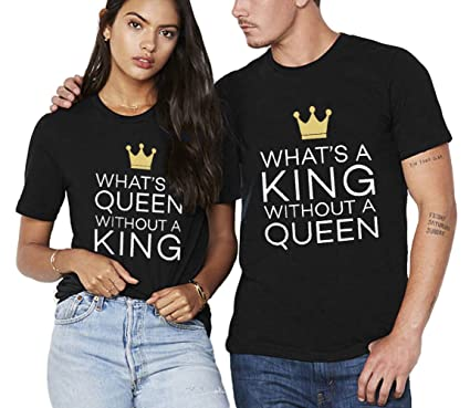 16a86e7a85 T Shirt King Queen Shirts Matching Couple Shirt Set 100% Cotton Gift  Valentine's Day for