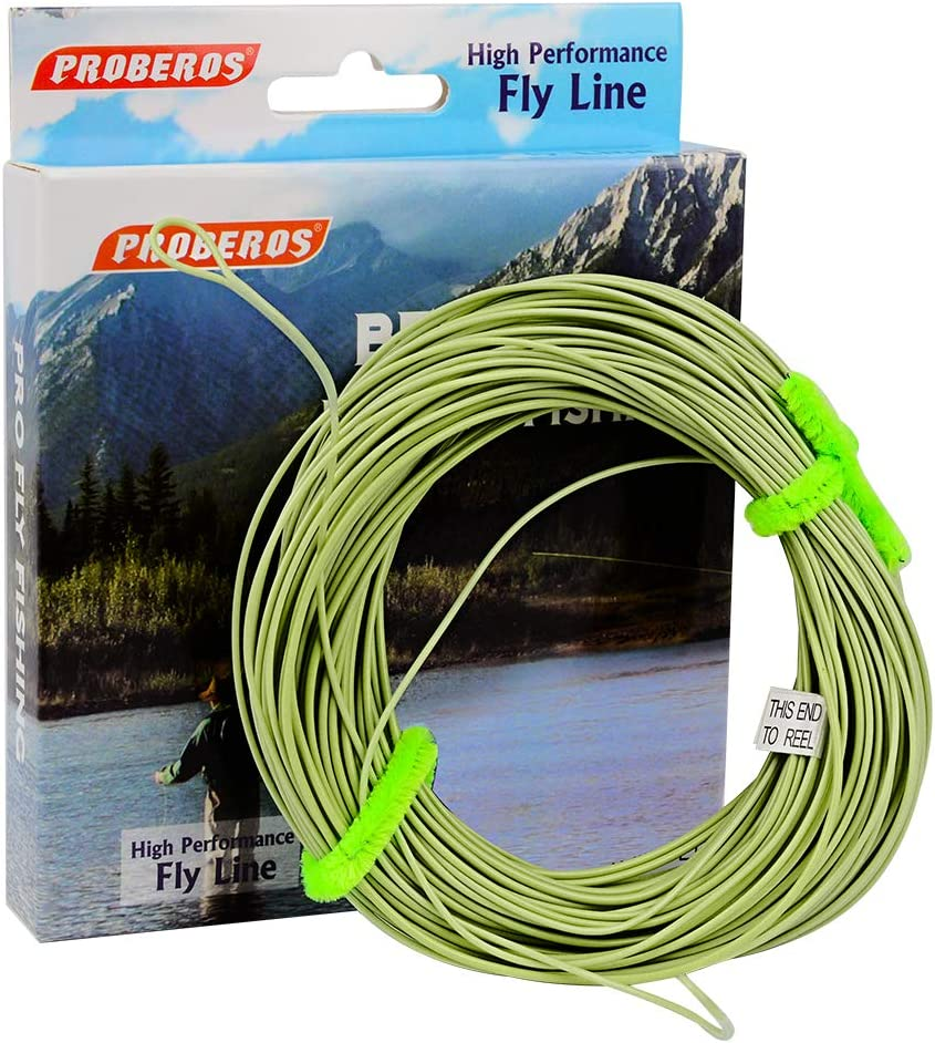 ProberoS Fly Fishing Line – Weight Forward Enhanced Welded Loop Floating Fly Line – Green Yellow Orange Blue 100FT 2F-8F