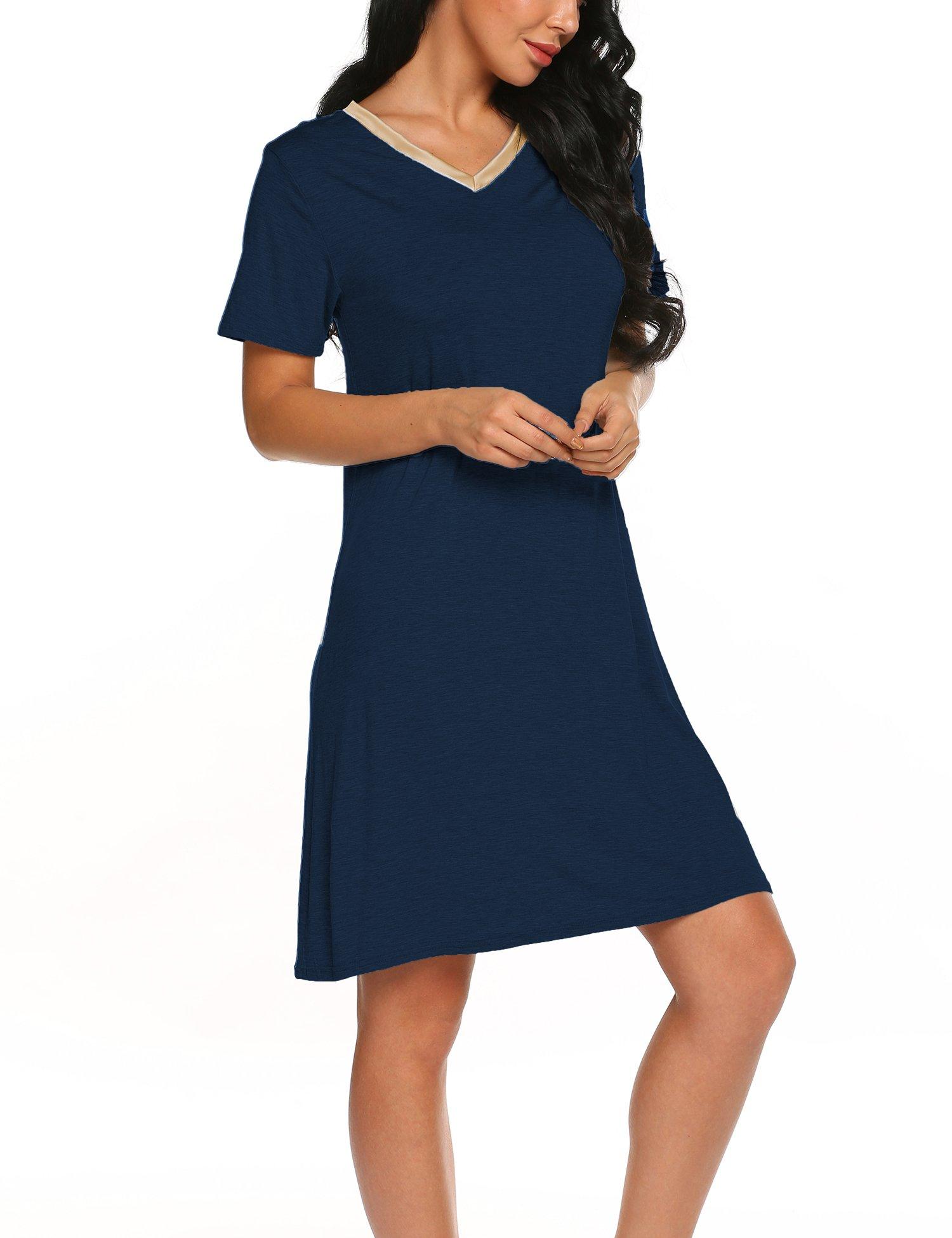 Sweetnight Women Nightgown Short Sleeve Scoop Neck Sleepwear Lace Trim Sleep Shirt Night Dress (Navy blue1, XXL)