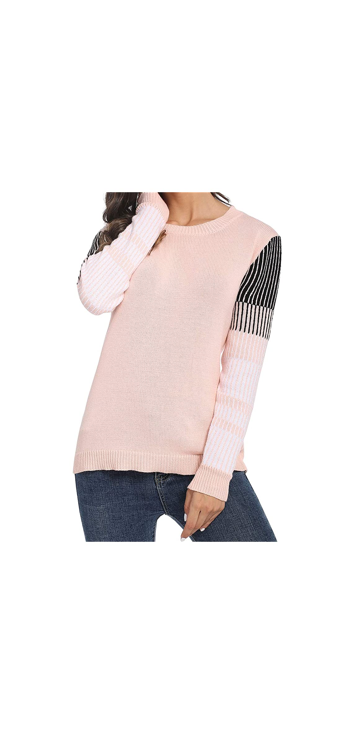 Crew-neck Pullover Sweater For Women Color Block Top