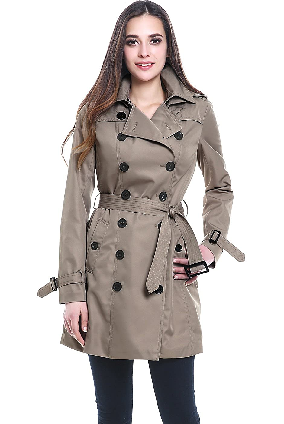 BGSD Womens Viv Waterproof Hooded Mid Length Trench Coat