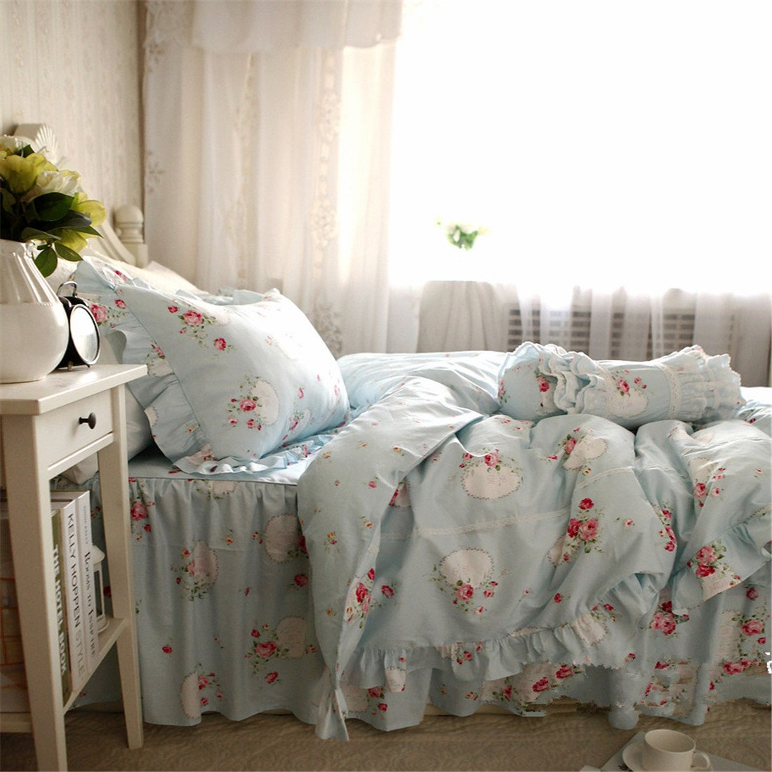 Lotus Karen 100%Cotton Blue Pastoral Flowers 4PC Floral Bed Sheet Set Ruffles Korean Bedding Set With Romantic Love Letters Patterns For Wedding Bedding King,1Duvet Cover,1Bedskirt,2Pillowcases by Lotus Karen (Image #2)