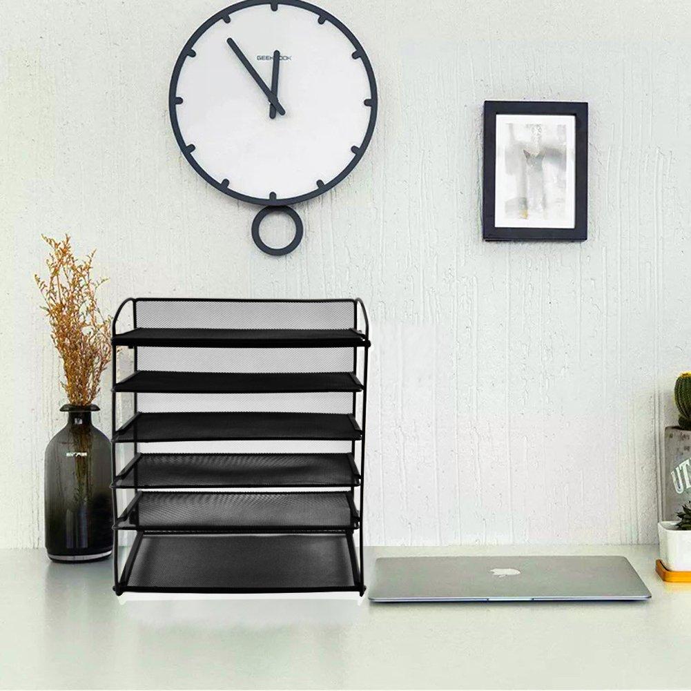 Black Easepres 6-Tier Mesh Desktop File Organizer Document Letter Tray Holder for Office or Home