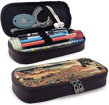 Aldeanos japoneses que viven con el estuche para lápices de cuero del monte Fuji: Amazon.es: Oficina y papelería