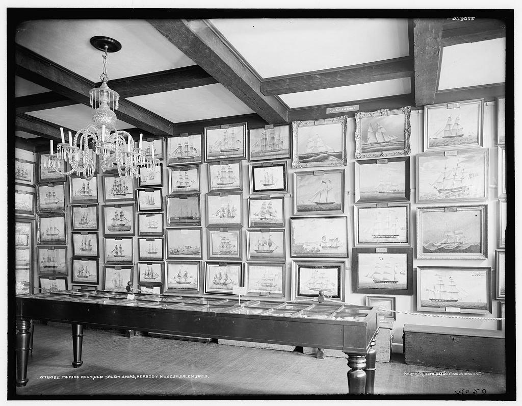 Vintography 24 x 30 Giclee Unframed Photo Marine Room East India Marine Hall Old Salem Ships Peabody Museum Salem Mass 1915 Detriot Publishing co. 51a