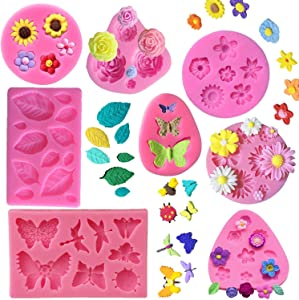 KULENAND 8 Pcs Flower Fondant Mold Set - Rose Butterfly Daisy Rose Leaf and Mini Flowers Candy Silicone Molds for Chocolate Fondant Polymer Clay Soap Crafting Projects Cake Decoration