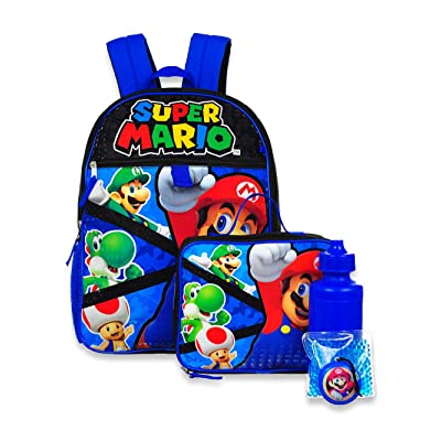 Super Mario 5-Piece Backpack Set - red/blue, one size: Toys & Games