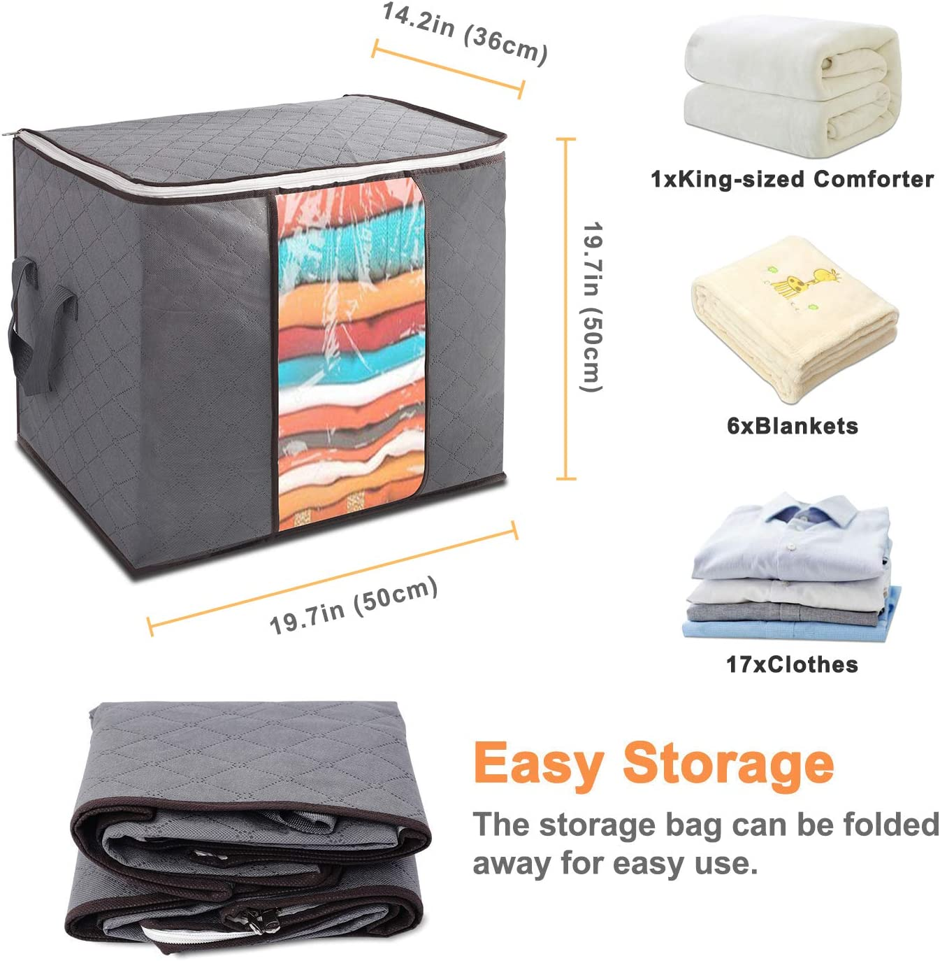 Lvelfe 90l Large Clothes Storage Bags With Zips Duvet Storage Bag King Size Thick Breathable Fabric
