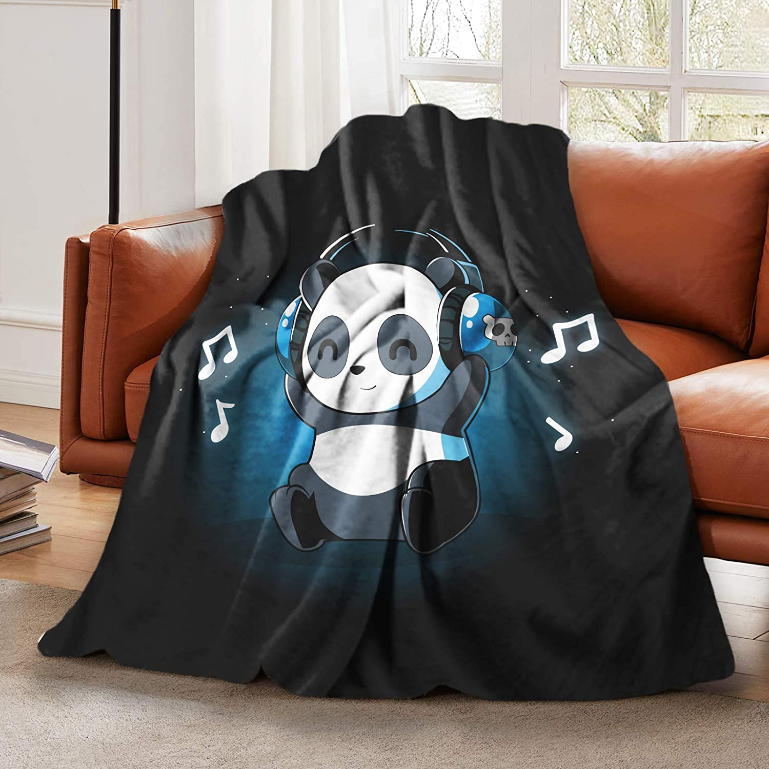 "Plush Fluffy Throw Blanket Cartoon Cute Baby Panda With Headphones Music Bed Blanket for Boys Girls Teens Smooth Soft Flannel Blanket for Sofa Chair Office Travel Camping Outdoor Home Decor 50""x60"""