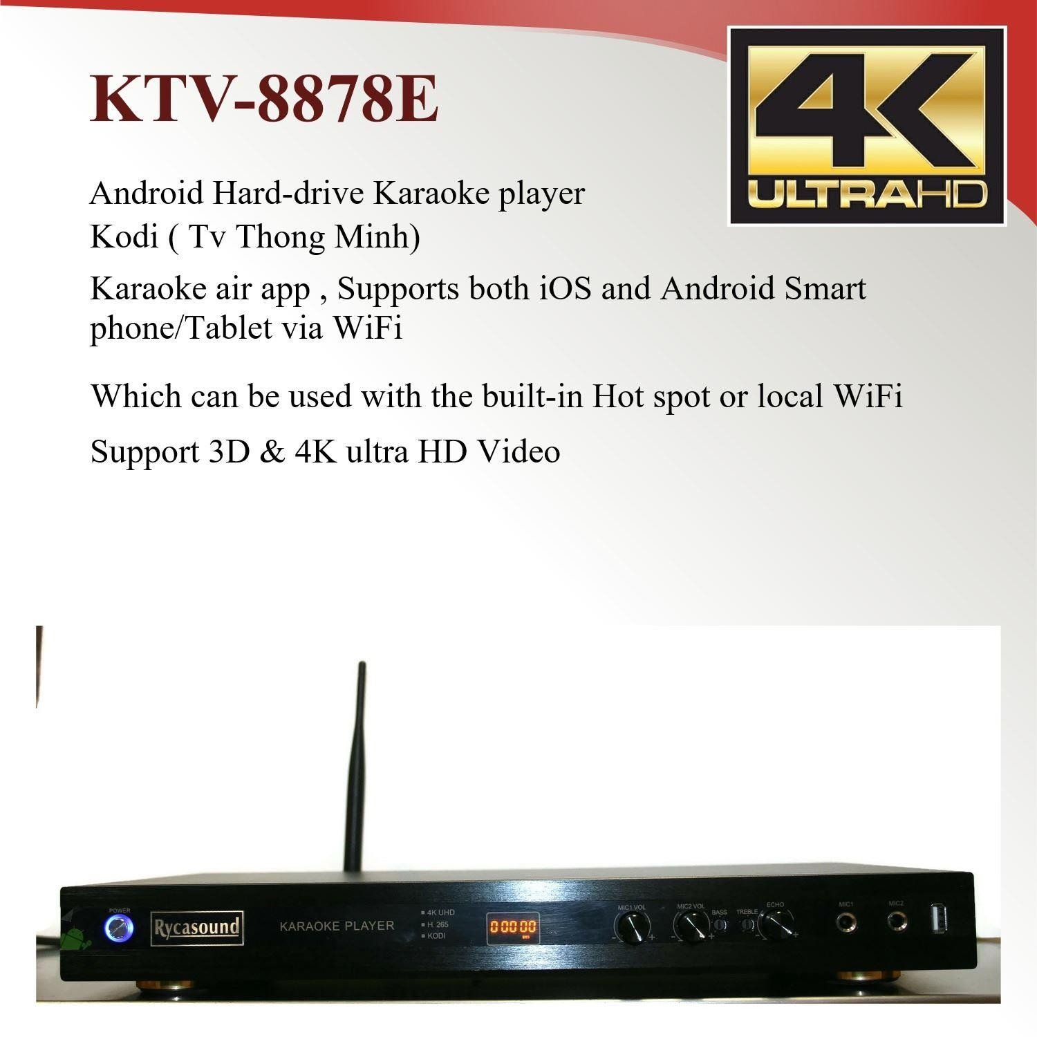 ANDROID KTV-8878E KARAOKE PLAYER 4TB HARDDRIVE LOAD WITH 33000+ VIETNAMESE SONGS by TM-toner