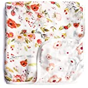 Aenne Baby Girl Floral Rose Double Muslin Swaddle Blanket 47 x 47 inch, Baby Shower Gifts Todler Blanket, Nursing Cover, Wrap, Stroller Cover