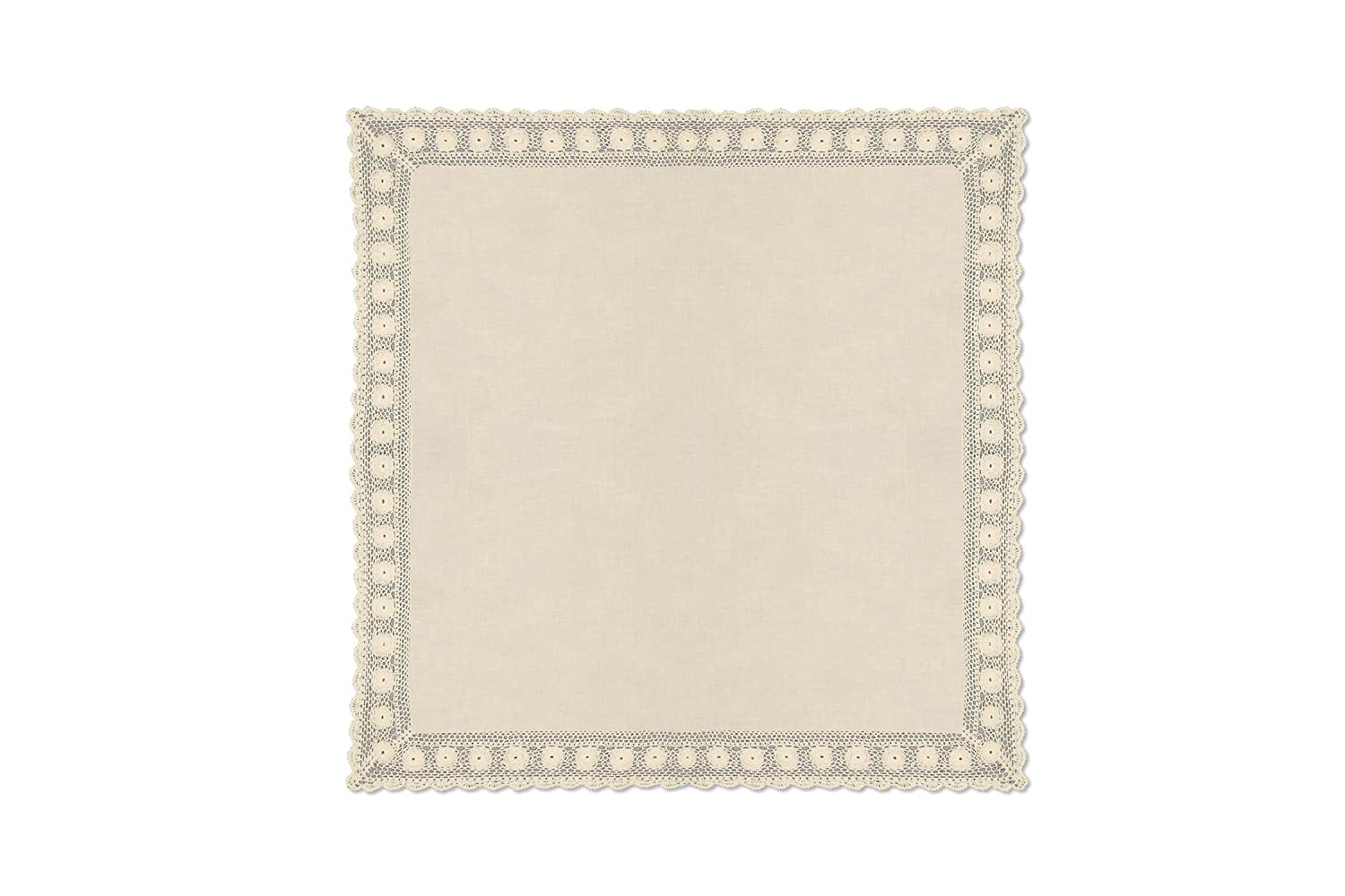 """Heritage Lace Blue Ribbon Crochet Table Topper, 42 by 42"""", Cream 42 by 42"""" BRC-4242HC"""