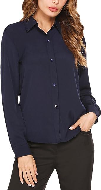Blusa de manga larga para mujer de Parabler, camisa de trabajo entallada, no necesita planchado, blusa de manga larga azul marino XL: Amazon.es: Ropa y accesorios