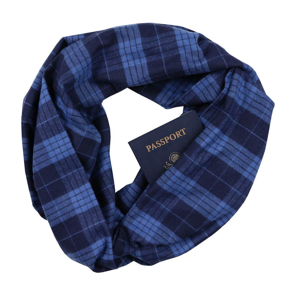 Blue Plaid Infinity Scarf with Zippered Secret Pocket