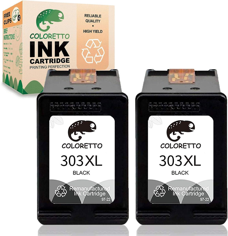 COLORETTO Cartucho de Tinta Remanufacturado para HP 303XL 303 XL (2 Negro) Compatible con Envy 6220 6230 6232 6234 6252 6255 6258 7120 7130 7132 7134 7155 7158 7164 7800 7820 Tango X Impresoras
