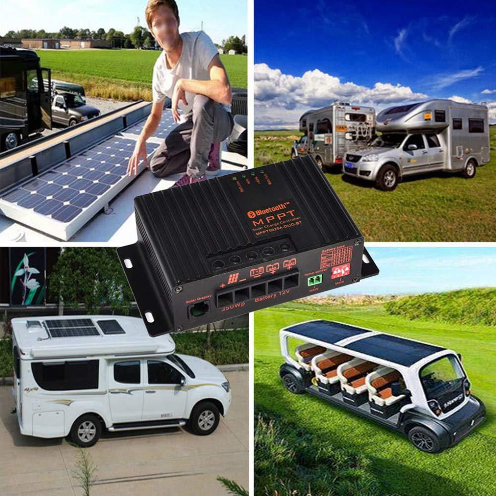 Onepeak Contr/ôleur solaire intelligent de contr/ôleur de charge solaire de lapplication MPPT 20A 12V pour la voiture de bateau de RV PV solaire avec le c/âble de sonde de temp/érature