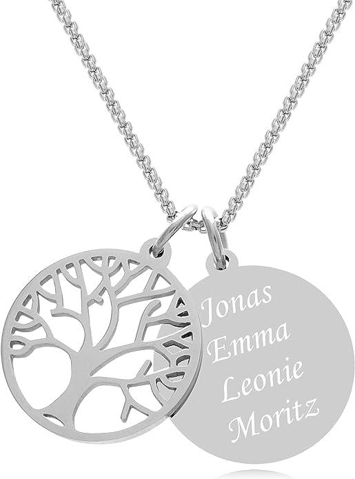 Damen Kette Baum des Lebens mit Gravur