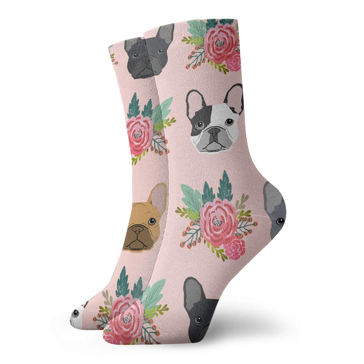 WEEDKEYCAT Pink Florals French Bulldog Pattern Adult Short Socks Cotton Sports Socks for Mens Womens Yoga Hiking Cycling Running Soccer Sports