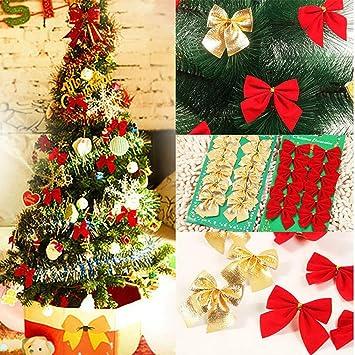 Weihnachtsbaum Rot Silber.Frashing 24 Stück Weihnachtsbaum Dekorationschleife Weihnachtsbaum