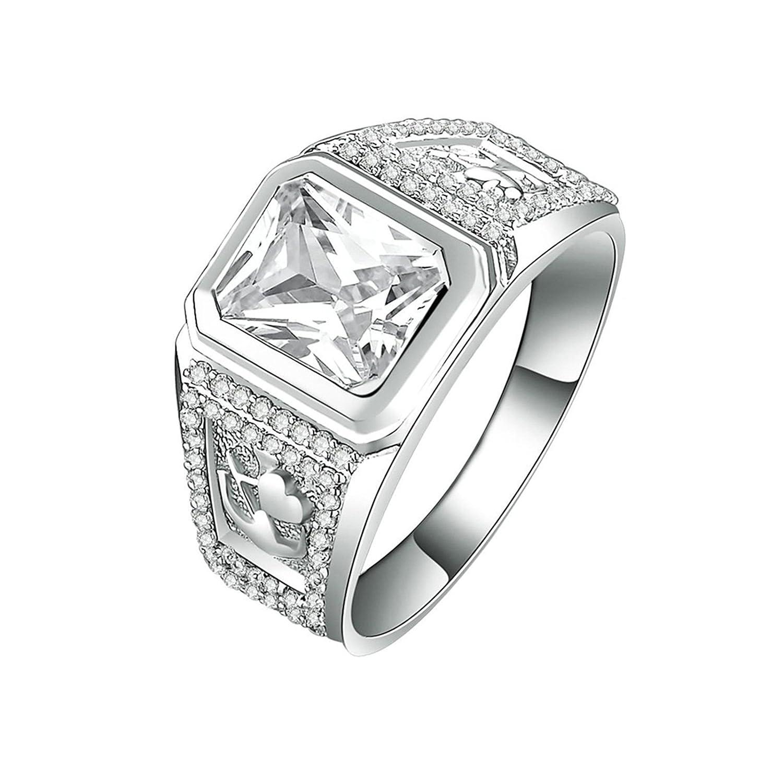 Bishilin Wedding Band Ring Mens Cushion /& Round Cut White Cubic Zirconia Size 7.5
