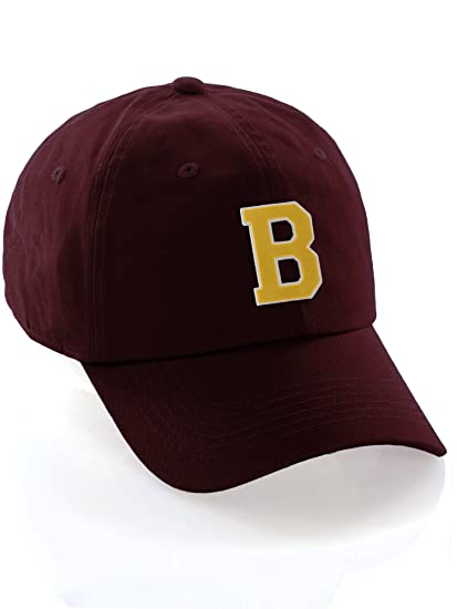 48dfce6e471ab Custom Dad Hat A-Z Initial Letters Classic Baseball Cap - Burgundy Hat with  White Gold Letter