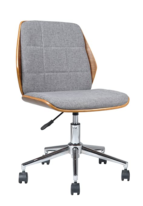 ASPECT Modern Padded Office Chair/Walnut Effect Wood, Grey Fabric Padded  Seat And Chrome