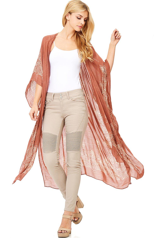 Love Stitch Women's Long Cut Linen Wide Sleeve Cardigan (O/S, Rust)