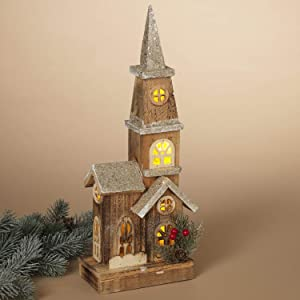 16-Inch Decorative Rustic Lighted Wood Christmas Church Decoration – Light-Up Wooden House Tabletop Holiday Home Decor