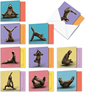 The Best Card Company - 10 Blank Yoga Note Cards Bulk (4 x 5.12 Inch) - Assorted Stick Figure and Animals Cards - Sloth Yoga AMQ6255OCB-B1x10