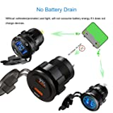 USMEI Dual QC3.0 USB Charger Socket, 36W Waterproof Quick Charge 3.0 Power Outlet Adapter for 12V/24V Car Boat Marine Motorcycle ATV RV Campers Tractors Truck Golf-Cart etc