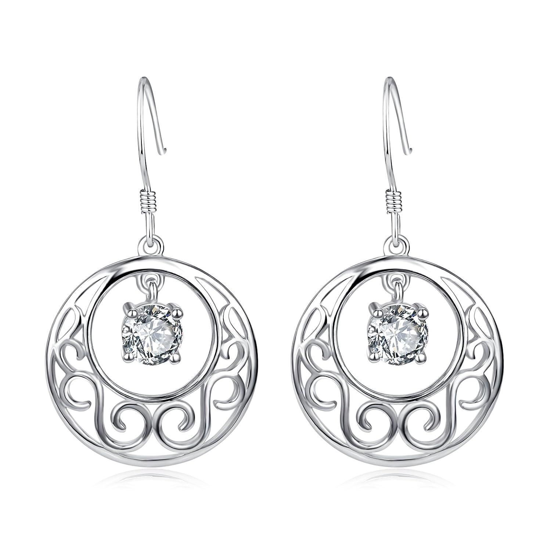 YFN Moon & Star 925 Solid Sterling Silver Filigree Teardrop Dangle Drop Earrings