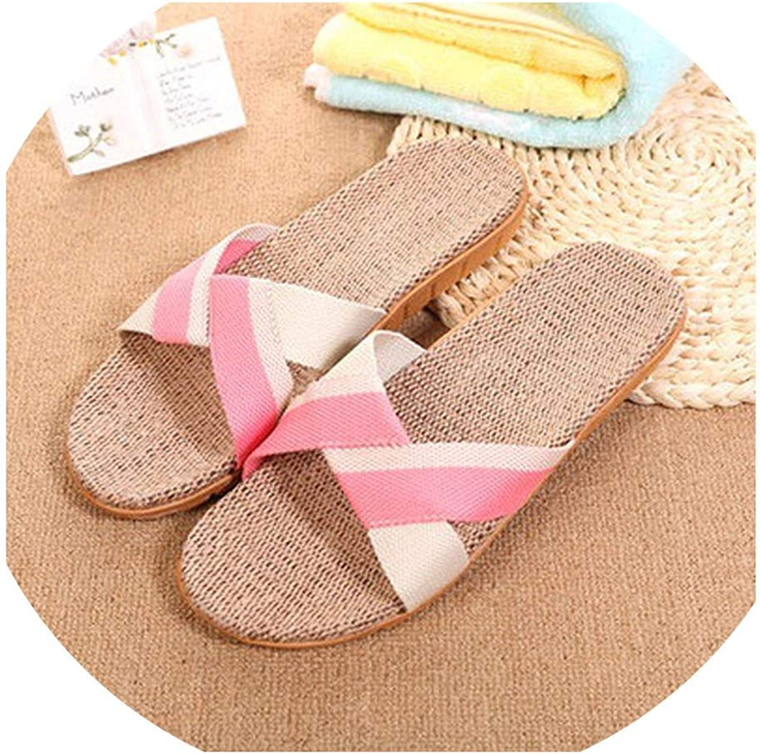 mamamoo Summer 13 Colors Flax Home Slippers Women 35-45 Large Size Slapping Beach Flip Flops