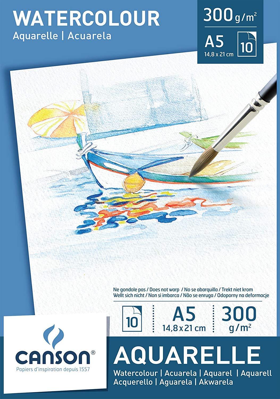 Confezione da 5 Blocchi Canson Acquarelle A5 300 gr. 10 ff (10 Fogli)