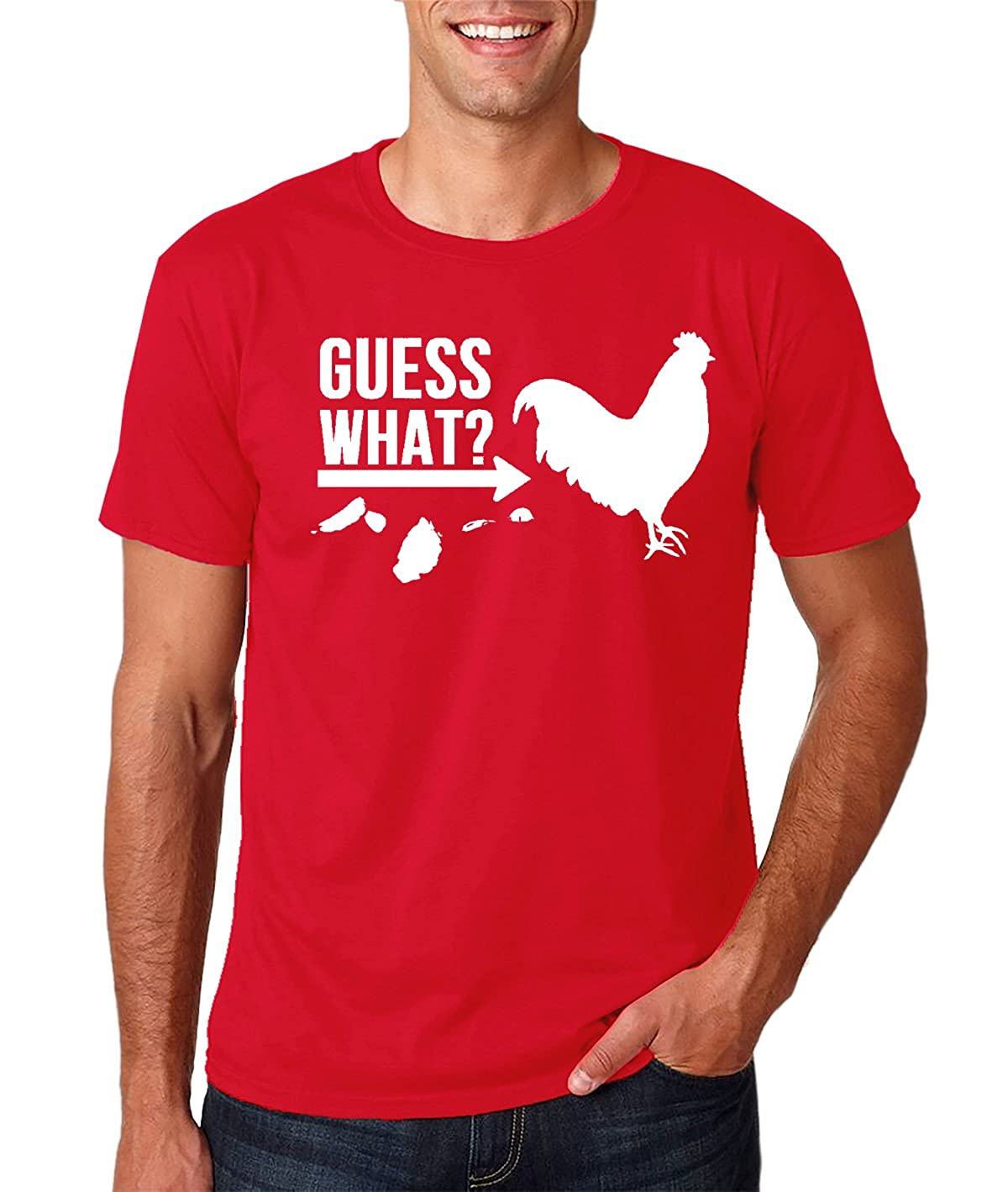 Amazon.com: AW Fashions Guess What? Chicken Butt - Funny Chicken Graphic - Geek Sarcastic Mens T-Shirt: Clothing