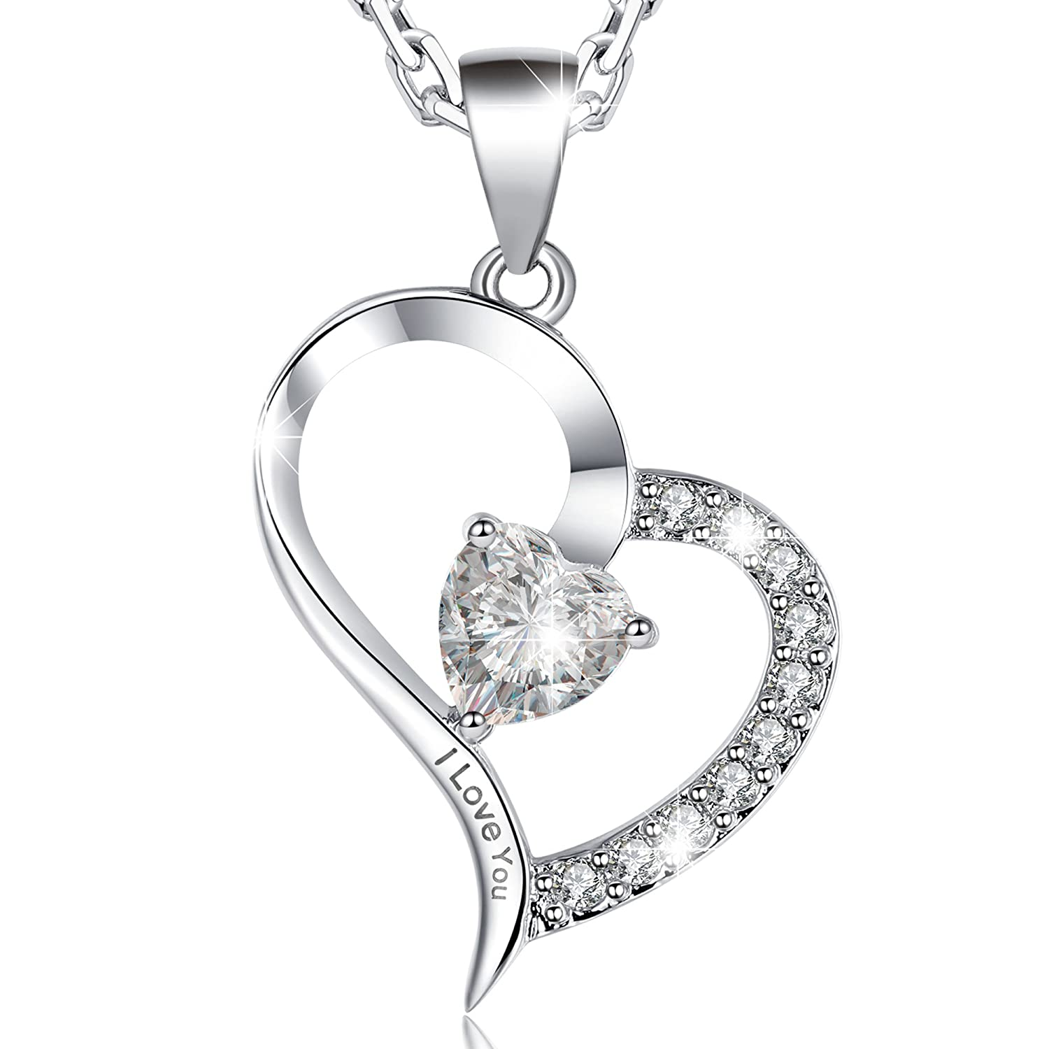 Amazon MARENJA Women s White Gold plated Necklace with Heart