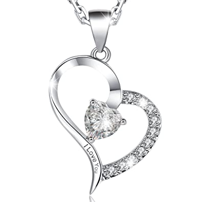 57e17936820 MARENJA-Mother s Day Gift Women s Fashion Necklace-Heart Pendant Engraved I  Love You with