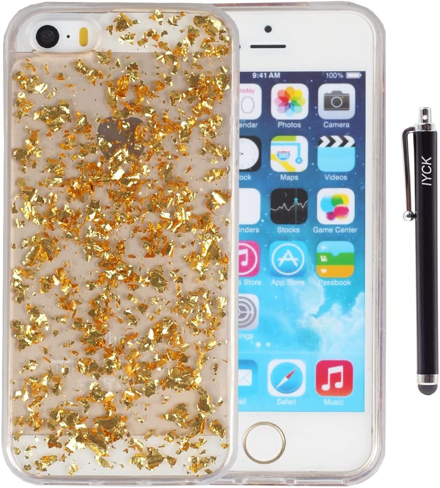 iPhone SE Case, iPhone 5S Case, iYCK Luxury Bling Glitter Sparkle [Gold Foil Embedded] Transparent Flexible Soft Rubber Gel TPU Protective Shell Hybrid Bumper Case Cover for iPhone 5/5S/SE - Gold