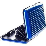 Vallet – Premium Kreditkartenetui aus Aluminium - blockiert RFID und NFC – für Kreditkarten, Personalausweis, EC-Karte etc. – 6 Fächer für bis zu 10 Karten - blau