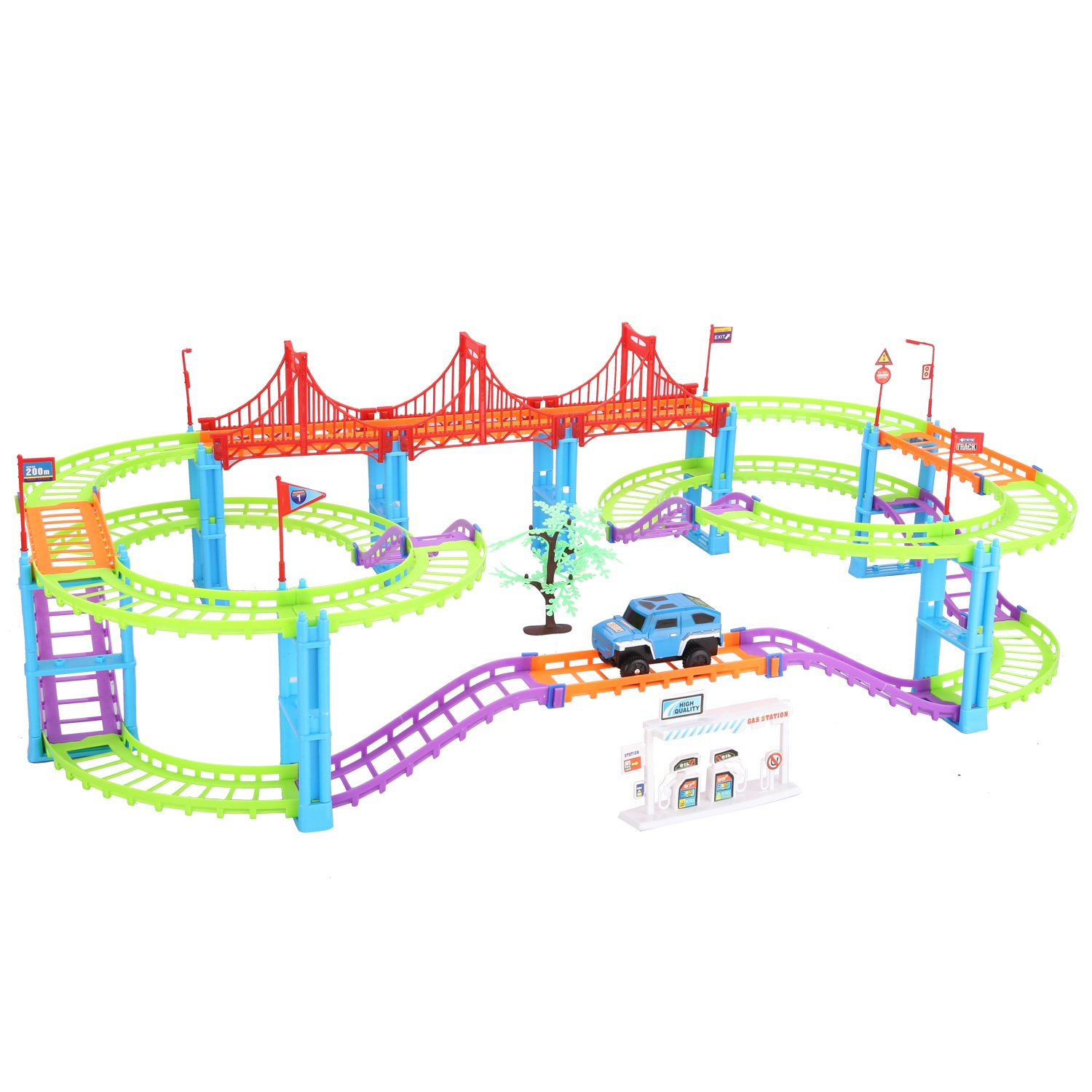 SZJJX Multi-Track Rail Car Building Block Railway Train Set Educational Kids DIY Assembly Toy with Race Track and Electric Car Double Orbits Colorful