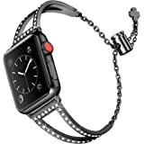 Secbolt Bling Bands Compatible with Apple Watch Bands 38mm 40mm 42mm 44mm iWatch SE Series 6/5/4/3/2/1, Women Dressy Metal Je