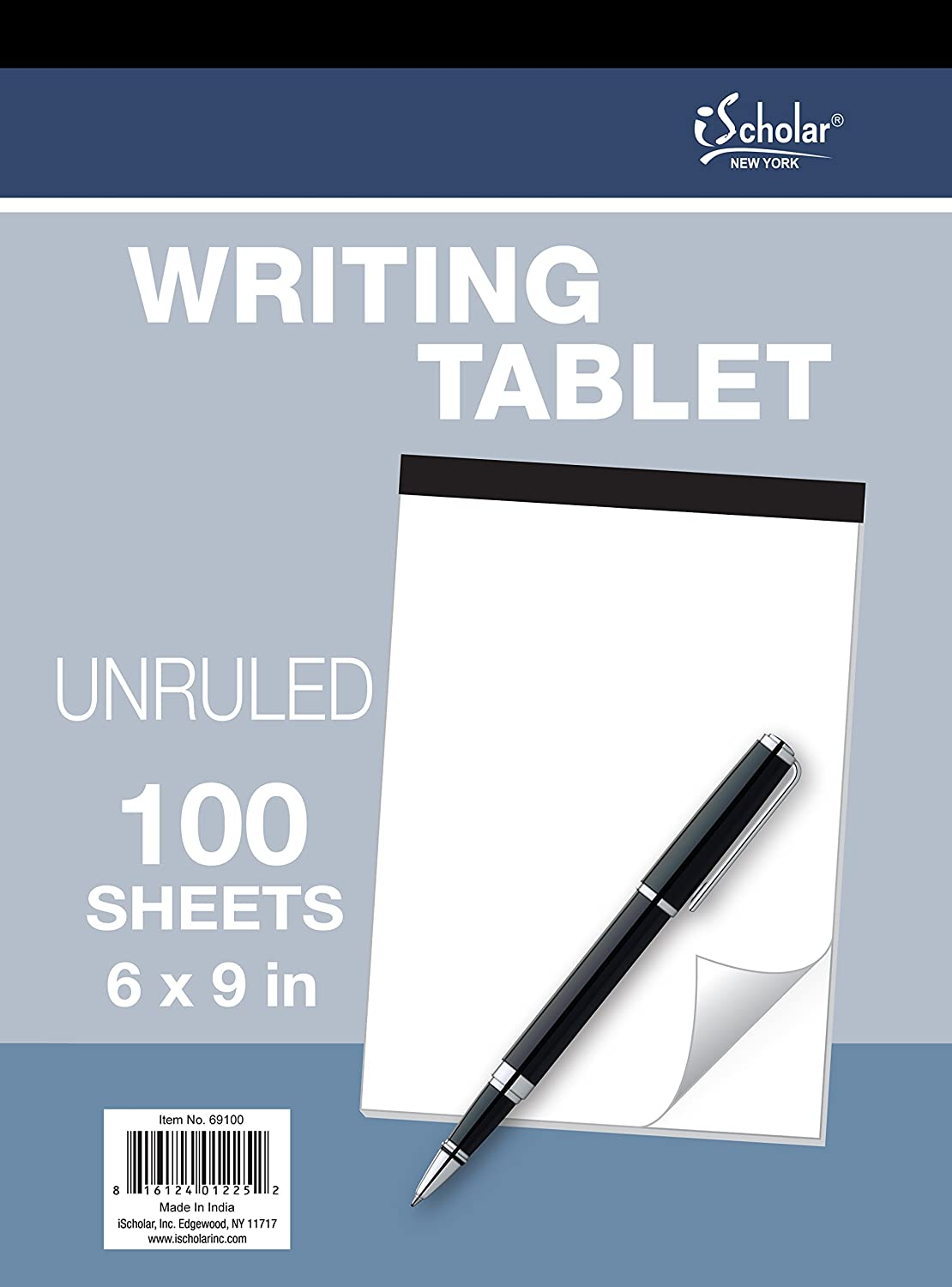 iScholar Writing Tablet, Plain White, 100 Sheets, 6 X 9-Inch - 69100