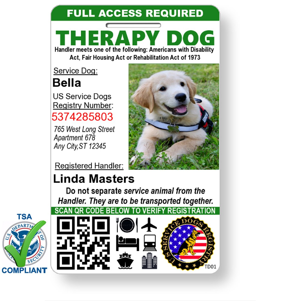 Just 4 Paws Custom Holographic QR Code Therapy Dog ID Card with Registration to Service Dogs Registry with Strap - Portrait Style