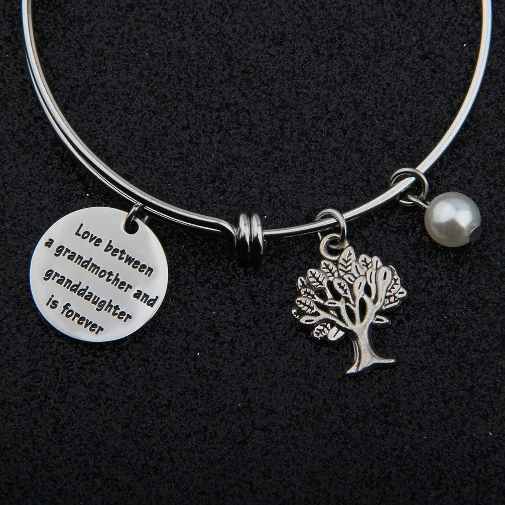bobauna Grandmother Granddaughter Gift Love Between a Grandmother and Granddaughter is Forever Bracelet Family Jewelry