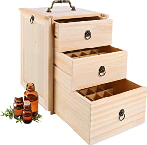 Pure Vie Wooden Essential Oil Storage Box Home Fragrance Carrier Case, Holds 75 Bottle (Fits 5-15ml) - Aromatherapy Organizer Makeup Nail Polish Perfume Container - Keep Your Oil Safe & Space Saver