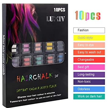 Luxiv Hair Chalk for Girls & Kids, Temporary Hair Chalk Combs Washable,  Non-toxic Temporary Hair...