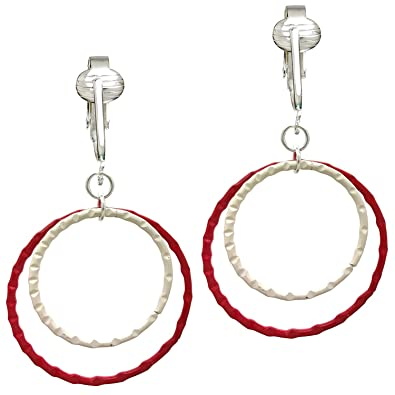 Fun Red White Hoops Clip On Earrings For Unpierced Ears Medium