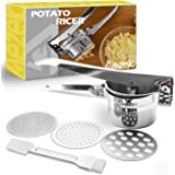 Aezek Potato Ricer and Masher, Makes Light and Fluffy Mashed Potato Perfection, Hand held Kitchen Press Gadget Stainless Stee