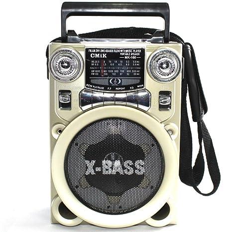 Altavoz Radio Caseta MK160 Inalámbrico X-Bass Radio Fm Mp3 / SD / USB Dorado