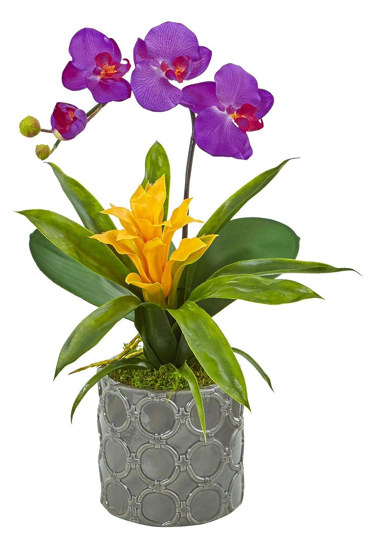 造花 – ミニ胡蝶蘭パープルとブルメリア グレー花瓶 B07KVCPHGJ